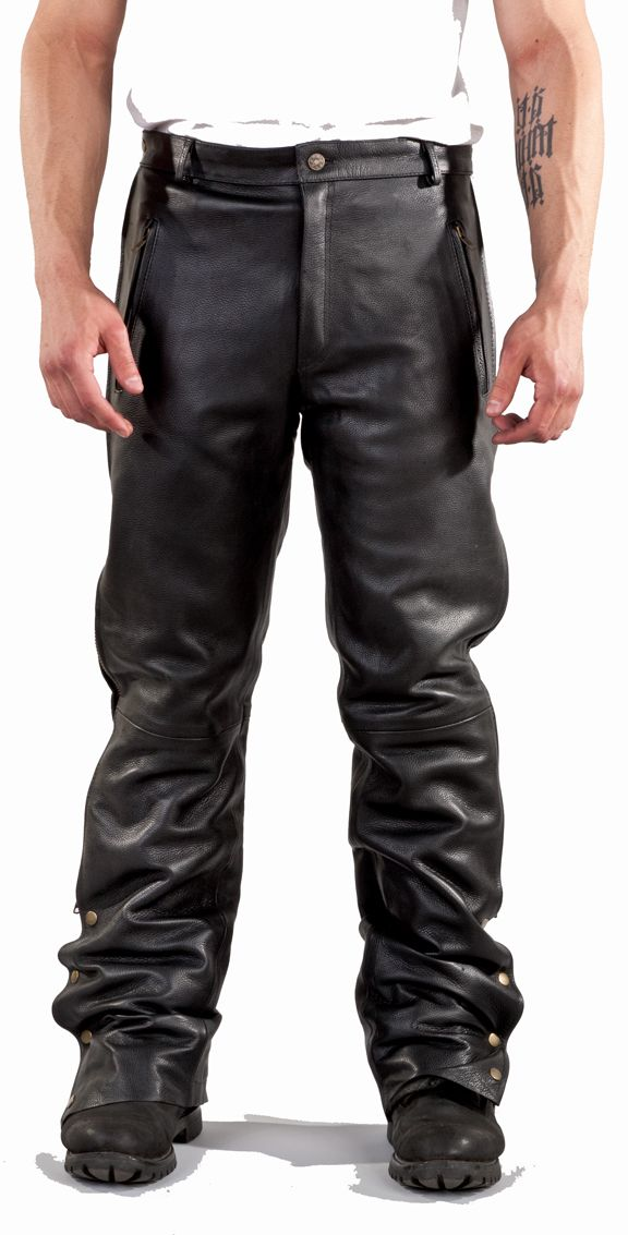 C1001-01 Chap Pants Naked Cowhide Leather with Side Zipper & Snap